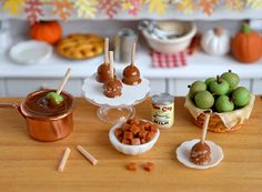Miniature Making Caramel Apples Set by CuteinMiniature on Etsy