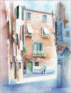 ヨーロッパの風景4「朝の街角」ベネチア