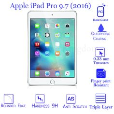 Clear Genuine Tempered Glass Film Screen Protector For Apple iPad Pro 9.7 2016