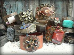 Leather cuffs Who wants one for Christmas? Leather Jewelry Making, Funky Jewelry, Jewelry Crafts, Jewelry Bracelets, Vintage Jewelry, Leather Bracelets, Geek Jewelry, Gothic Jewelry, Metal Jewelry