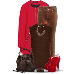 Brown Dressed with Red by oribeauty-cosmeticos on Polyvore featuring Marni, Zara, Loro Piana, Christian Louboutin, Chloé, Forever 21 and BaubleBar
