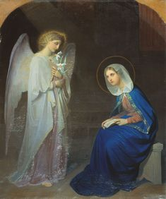 The Annunciation. Archangel Gabriel and Virgin Mary Blessed Mother Mary, Divine Mother, Blessed Virgin Mary, Religious Icons, Religious Art, Charles Peguy, San Gabriel, William Adolphe Bouguereau, Queen Of Heaven