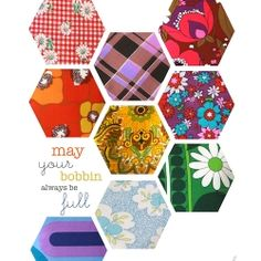Cute poster featuring bright vintage fabrics. Print it yourself and brighten up your sewing or craft room.