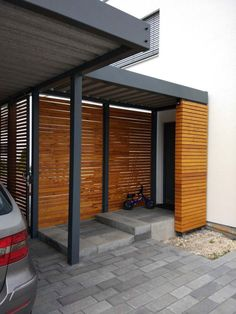 canopy-glass-wooden-house-modern-stainless-steel-entrance-cheap-wooden-door-door # Glass # Painting # Decor When old within concept, a pergola Metal Carports, Metal Garages, Carport Designs, Garage Design, Exterior Design, Modern Entrance, House Entrance, Main Entrance, Carport Modern