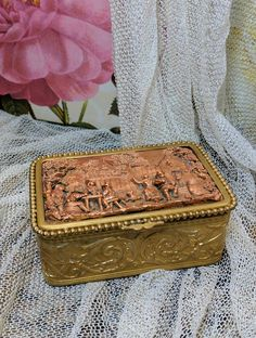 Decorative Collectibles Antique High Relief Scene Hinged Trinket Box Made In France Decorative Arts