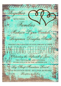 Rustic Double Hearts Aqua Wood Wedding Invitations with two intertwined hearts on a rustic barn wood background with teal aqua color.