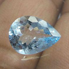 2.5 Carat 11.7x8.6 MM Top Natural Faceted HIGH QUALITY Aquamarine Pear Cut Stone…