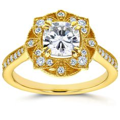 Annello by Kobelli 14k Yellow Gold Cushion Forever One Moissanite and 1/4ct TDW Diamond Floral Antiq (Size 9), Women's