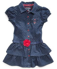 GUESS Kids Dress, Little Girls Polka Dot Denim Dress