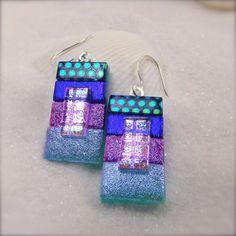 Blue dichroic glass earrings blue dichroic by HanaSakuraDesigns: