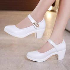 Plus Size Block Heels Platform Shoes Women Pumps 2019 .- Plus Size Block Heels Platform Shoes Women Pumps 2019 Black White Heels Mary Jane Shoes Ladies Wedding Shoes Bride - Mary Jane Heels, White Mary Jane Shoes, Black And White Heels, Platform Block Heels, White Platform Shoes, Platform Sneakers, Cute High Heels, Wedding Shoes Bride, Frauen In High Heels
