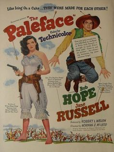 bob hope movie posters   1940s PALEFACE JANE RUSSELL BOB HOPE movie poster advertisement FULL ...