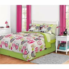 """4pc Girl Green Pink Owl Zebra Bird Queen Comforter Set by Morgan Teen. $61.99. Queen set includes: comforter (86"""" x 90""""), flat sheet (102"""" x 90""""), fitted sheet (60"""" x 80"""" x 12""""), 2 pillowcases (20"""" x 30""""), 2 shams (20"""" x 26"""") and bedskirt (14"""" drop; fits mattresses 81"""" x 60""""). Machine washable for easy care. Comforter and shams: Microfiber. Polyester comforter fill. Sheets: Microfiber. Update your bedroom with this adorable bed in a bag set. This set includes a reversib..."""