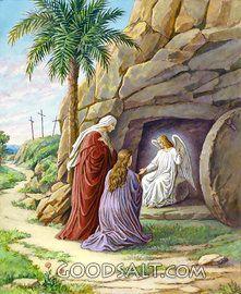 Ángeles y María en la tumba