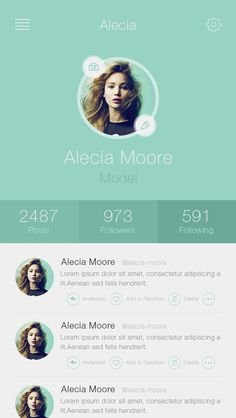 Saved onto Design Collection in Graphic Design Category Mobile Ui Design, App Ui Design, Interface Design, User Interface, Flat Design, Mobiles Webdesign, Profile App, Profile View, Clean Iphone