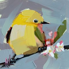 Yellow Warbler no. 84    5 x 5 x 1/8 inch (12.7 x 12.7 cm)    Oil paint on archival gessobord panel. Signed. Unframed.    Copyright: Angela Moulton
