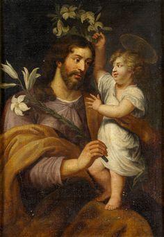 """""""SAN JOSÉ Y EL NIÑO JESÚS"""". ANÓNIMO. SIGLO XVIII."""