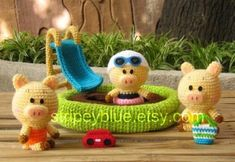 Items similar to Piggy's Pool - PDF Crochet - Amigurumi Pattern on Etsy Quick Crochet, Cute Crochet, Crochet For Kids, Cat Amigurumi, Crochet Patterns Amigurumi, Crochet Toys, Crochet Things, Different Stitches, Crochet Animals
