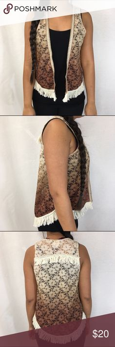 Daytrip open vest Daytrip open lace detail vest. Fringe all the way around the hem and across the back. Ombré colors: taupe, tan, and brick color. Daytrip Jackets & Coats Vests