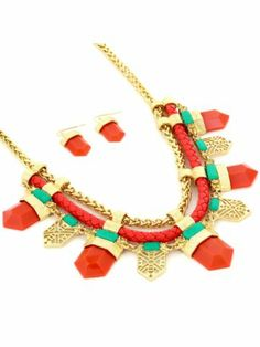 18 Goldtone, Orange, and Green Aztec Necklace and Earring Set