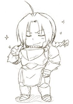 """Sketch commission for san. Chibi of Edo in Al's armor. Ed: """"Heh, now I AM truly the Full Metal Alchemist!"""""""