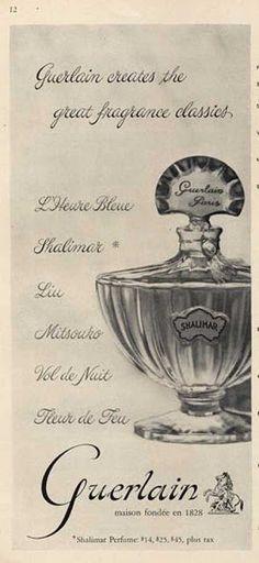 Shalimar de Guerlain é um perfume Oriental  Feminino, lançado em 1925. Notas de topo são Cítricos, Tangerina, Cedro, Bergamota e Limão verdadeiro ou siciliano as notas de coração são Íris, Patchouli ou Oriza, Jasmin, Vetiver e Rosa, as notas de fundo são Couro, Sândalo, Opoponax, Almíscar, Civeta, Baunilha, Incenso e Fava Tonka. O perfumista que assina esta fragrância é Jacques Guerlain.