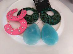 Womans Fashion Earrings Hoop Tear Drop Lot of 3 Plastic Blue Pink Green  #Unbranded #HoopDangle