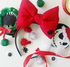 Nightmare Before Christmas Minnie ears, Halloween ears, Christmas ears, Mouse ears, Jack Skellington, Zero, Headband, Cobwebs, Disney