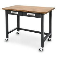 Seville Classics UltraGraphite Commercial Heavy-Duty Wood Top Workbench with Drawers on Wheels, Black