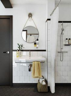 vasque salle de bain suspendue et miroir rond
