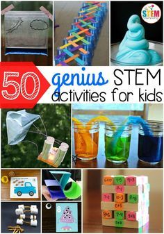 50 genius STEM activities for kids! So many fun science, technology, engineering and math ideas in one spot. Perfect for preschool, kindergarten, first grade or second grade. thestemlaboratory...