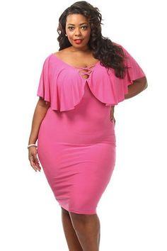 Rose Plus Size Ruffle Lace Up Midi Dress