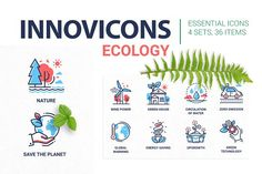 Innovicons Ecology Icons Bundle by Boyko Pictures on Education Icon, Business Education, Business Illustration, Pencil Illustration, Business Brochure, Business Card Logo, Charity Volunteering, Oil Platform, Alternative Energy Sources