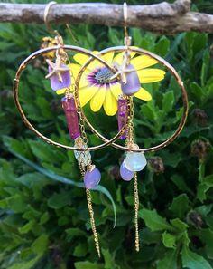 Shades of Purple Chalcedony Starfish Hoop Dangle Earrings, $88✨FREE US SHIPPING www.etsy.com/shop/yemayadesignshawaii 💜