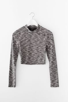 Marled Mock Neck Crop Top