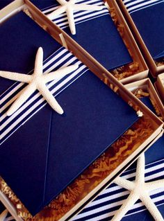 2014 navy blue beach wedding invitations, starfish invitation for beach wedding www.dreamyweddingideas.com