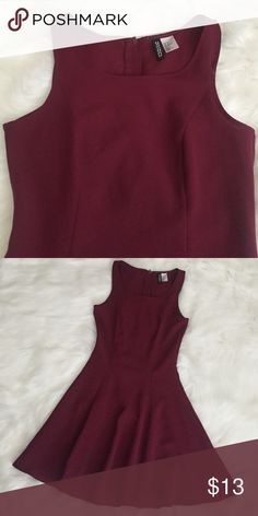 Fit and Flare Dress +Details  Divided (H&M) wine-colored fit and flare dress  Worn once   + Size/Composition Size: 2 (fits like a true XS, slim fit) 96% polyester, 4% elastase   + Note All images are taken by me and is the exact item you would be receiving. More pictures available upon request. H&M Dresses Mini