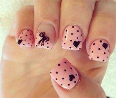 Easy & Cute Polka Dots Nail Art, check it out at http://makeuptutorials.com/nail-art-ideas-for-valentines-day