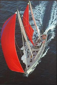 """Beowulf"", the Dashew's 78-foot sailboat. She is known to sail up to 300 nm per day (much, much faster that the average)!."