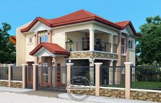 Contemporary House Plans Featuring Florante Model is a 4 bedroom with 3 toilet and bath 2 story house to fit perfectly on a 211 sq. Two Storey House Plans, 2 Storey House Design, Bungalow House Design, House Outside Design, House Front Design, Bedroom House Plans, House Floor Plans, House With Balcony, Build Your House