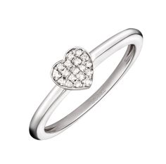 Sortija de oro blanco con corazón central de pavé de diamantes de Suárez. Para más información: www.joyeriasuarez.com