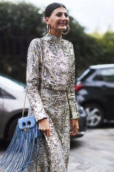 london fashion week street style spring 2018 giovanna battaglia engelbert sequin dress jw anderson blue bag 1