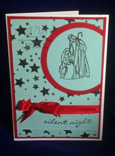Stampin' Up! Christmas Card. All Ye Faithful and Jingle all the Way stamp sets. Whisper White, Real Red and Pool Party card stock with Early Espresso Ink.