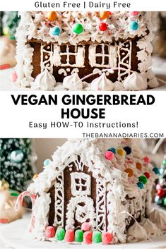 How to make the best vegan gingerbread house with vegan royal icing! Build your own dairy free, gluten free, vegan gingerbread house for the holidays! Lemon Desserts, Healthy Dessert Recipes, Cookie Recipes, Vegan Recipes, Healthy Deserts, Cookie Ideas, Vegan Snacks, Baking Recipes, Chocolate Avocado Brownies