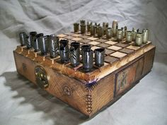 STEAMPUNK BULLET SHELL chess set - 45 caliber. $185.00, via Etsy.