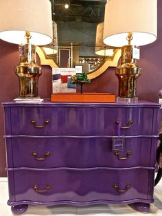 Custom pieces ordered in ANY Pantome color  Regency chest as shown  Julian Chichester ~ Love the high gloss purple