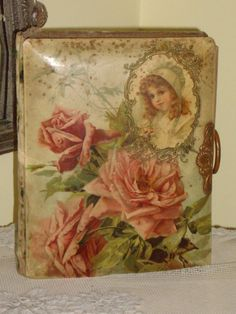 Antique Victorian Photo Album...#roses o I have my mother's missle form catholic church when she was alittlr girl. The over is very similar to this. so prettty