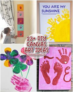 Make lasting memories with your children with these creative canvas painting ideas kids can make with handprints and footprints. Canvas Art Projects, Kids Canvas Art, Simple Canvas Paintings, Diy Canvas, Art Activities For Toddlers, Preschool Activities, Easy Art, Simple Art, Painting For Kids
