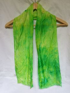 Handdyed silk scarf by DaretobeBoring on Etsy, $16.00