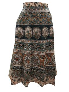 Boho Gypsy Holiday Wrap Around Skirt Barmer Print Cotton Long Wrap Skirt
